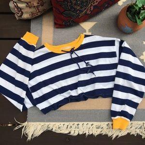 Vintage Cropped Striped Sailor Top